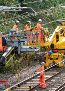 Engineers Working On Electrification Of Railway Line