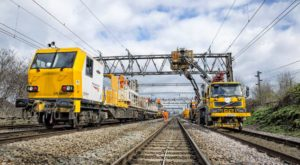 Network Rail Workers Electrification Line